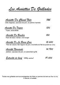 Menus du restaurant Au Cheval Noir